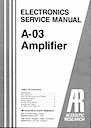 A-03 Amplifier Service Manual pg1