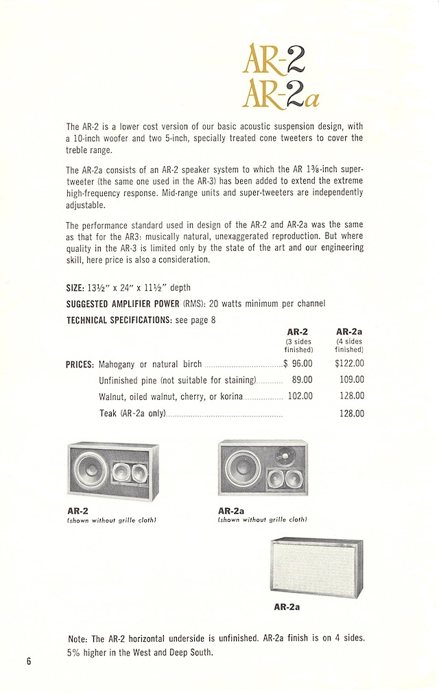 AR loudspeakers early 1960s page 6