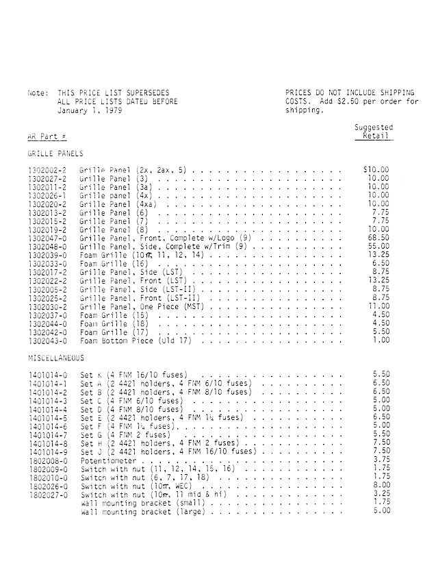 AR Speaker Parts Price List January 1 1979 - Page2