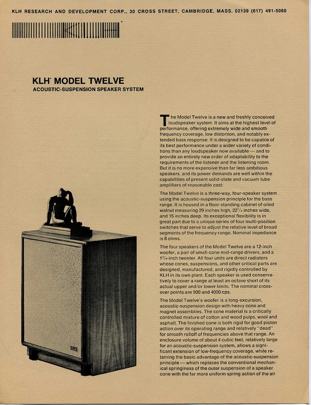 Later KLH Model 12 Ad - Page 1 | The Classic Speaker Pages
