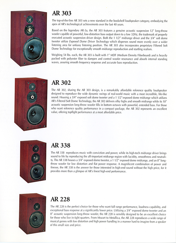 AR 8 Series Brochure pg8  The Classic Speaker Pages