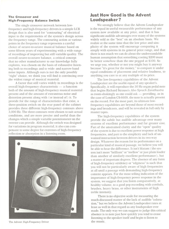 The Advent Loudspeaker pg6 900 (Large)